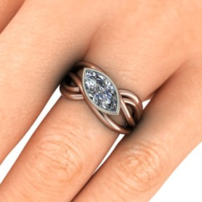 Rose gold marquise diamond ring