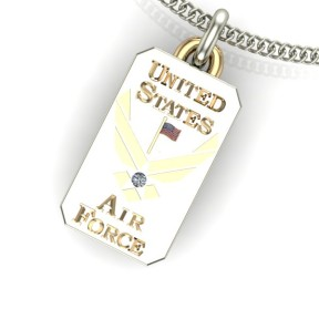 White and yellow gold US Air Force Pendant