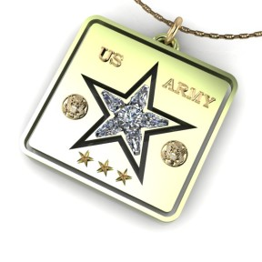 White and green gold US Army pendant