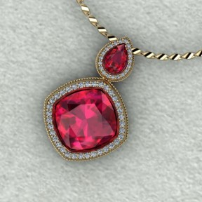 14kt yellow gold ruby and diamond necklace