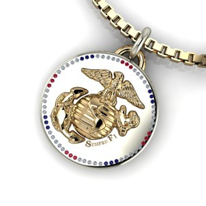 White and yellow gold US Marine Corps pendant