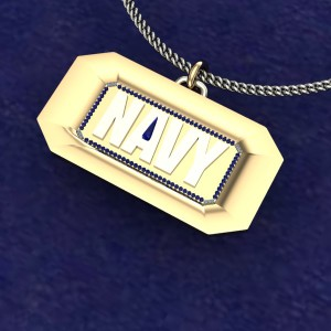 Yellow and white gold US Navy pendant