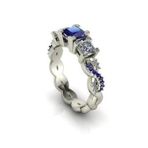 White gold sapphire and diamond engagement ring