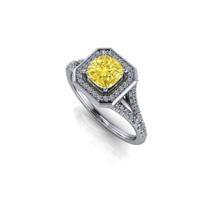 Platinum yellow diamond engagement ring
