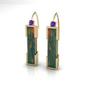 Yellow gold bloodstone and tanzanite earrings